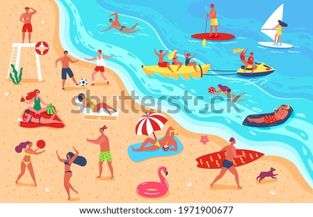 People at beach. Man and woman having fun and relaxing on beach. Friends playing sports, sunbathing, swimming. Summer vacation vector illustration. Characters lying on sand, lifeguard watching Foto stock ©