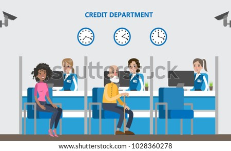 People at credit department in bank. Office interior.