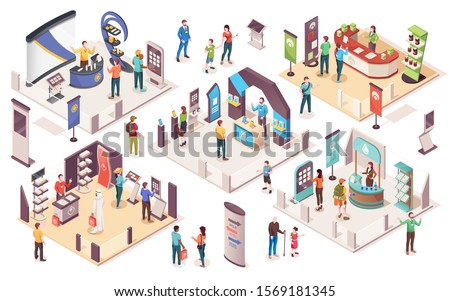 People at expo or business exhibition, vector isometric icons. Technology and business exhibition with product display exposition stands, company consultants, info desks, promotion banners and
