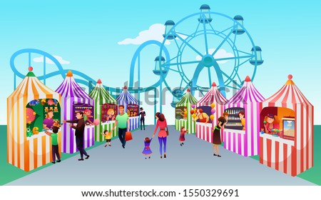 People at fait flat vector illustration. Outdoor entertainment festival, holiday celebration. Amusement park. Funfair rollercoaster and stalls composition. Families cartoon characters at funfair