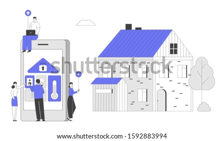 People at Huge Tablet with App for Smart House Technology System with Centralized Control. Lighting Heating Ventilation and Air Conditioning Security Service. Flat Vector Illustration, Line Art