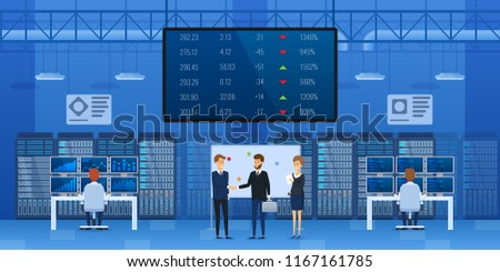 People at office of financial monitoring of stock market interior. Control center, monitoring financial market. Information display with indicators, exchange rates of currencies. Vector illustration.