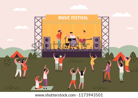 People at rock or electronic music festival dancing. Men and women camping near concert stage at musical festival. Outdoor holiday or weekend activity. Entertaining and performance theme