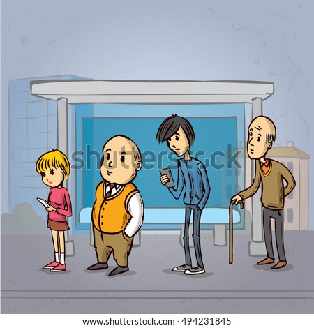 Royalty Free Vector Sketch Of Bus Stop With Blank 45477484 Stock