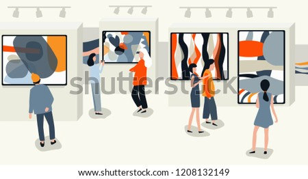 People at the exhibition go and see the works of abstract art, modern paintings. Art gallery, Museum with visitors. Vector illustration in flat style.
