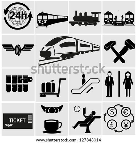 People at the railway station - set of vector icons. Black and white images.