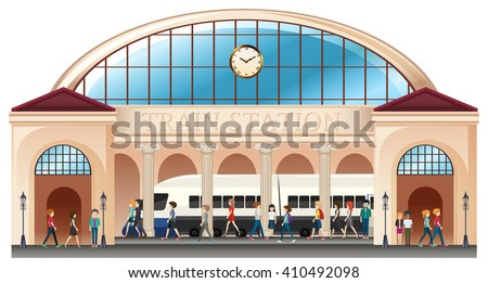 people at train station