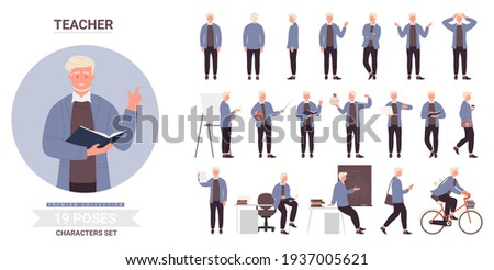 People at work or study vector illustration set. Cartoon tiny happy graduate student and woman scientist, boy courier with delivery box, man shopping and chef cooking, girl gardener working background