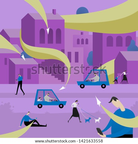 People attacked by information flows in city. Incoming mail spam problem, communication, message overdose flat illustration. Using smartphones in urban landscape or cityscape.