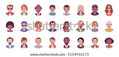 People avatar big bundle set. User pic, different human face icons for representing person in a video game, Internet forum, account. Vector flat style cartoon illustration isolated on white background Stock fotó ©