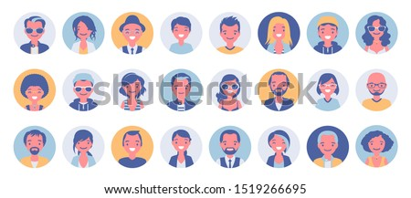 People avatar big bundle set. User pic, different human face icons for representing person in a video game, Internet forum, account. Vector flat style cartoon illustration isolated on white background