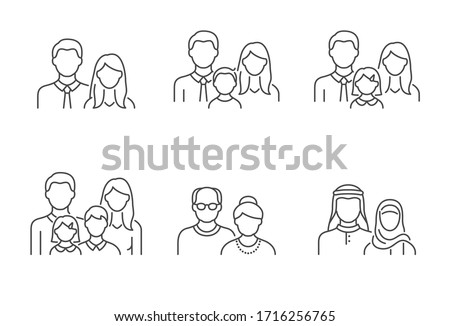 People avatar flat icons. Vector illustration included icon as man, female head, muslim, senior, familes and couples human face outline pictogram for user profile. Editable Stroke