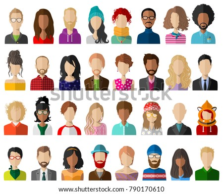 People avatar flat vector set
