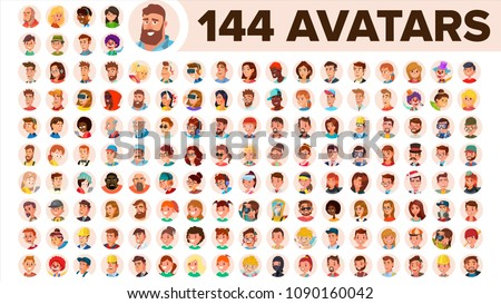 People Avatar Set Vector. Man, Woman. User Person. Trendy Image. Comic Face Art. Cheerful Worker. Round Portrait. Cute Employer. Flat Cartoon Character Illustration