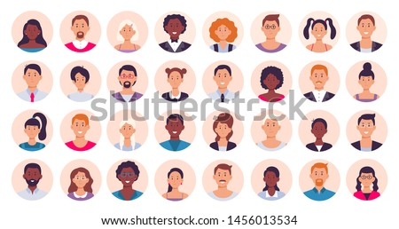People avatar. Smiling human circle portrait, female and male person round avatars. Teens and adult internet user people character web site portraits. Isolated flat icon vector illustration collection