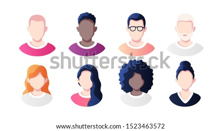 People avatars set isolated on a white background. Profile picture icons. Male and female faces. Cute cartoon modern simple design. Beautiful colorful template. Flat style vector illustration. Stockfoto ©