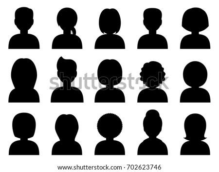 People avatars silhouettes black. Vector Photo stock ©