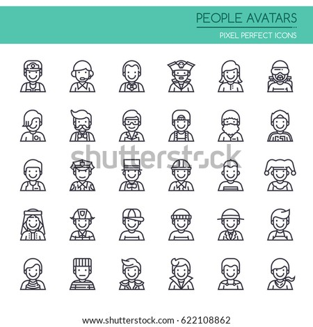 People Avatars , Thin Line and Pixel Perfect Icons