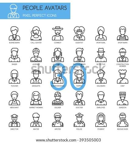 people avatars  thin line icons