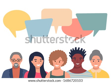 People avatars with speech bubbles. Men and woman communication, talking llustration. Coworkers, team, thinking, question, idea, brainstorm concept. Photo stock ©