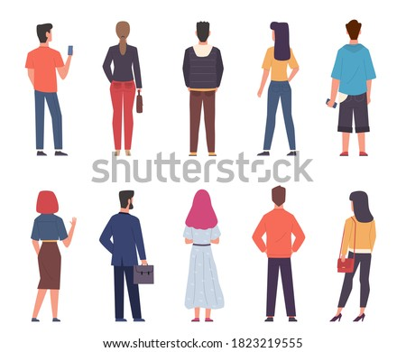 People back view. Men, women in modern casual clothes standing together in various poses set, male and female persons from back side with phones and bags collection. Flat isolated vector characters