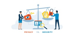 People balancing concepts of privacy and security on a scale, personal data protection concept