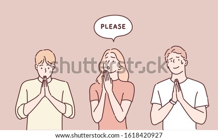 People begging and praying with hands together with hope expression on face very emotional and worried. Hand drawn style vector design illustrations. Stockfoto ©