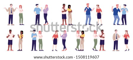 People behavior flat vector illustrations set. Couples quarrel, sympathize, argue, make friends. Men and women relationship isolated cartoon characters with outline elements on white background Stock photo ©