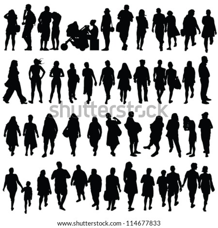 people black color silhouette vector on white background