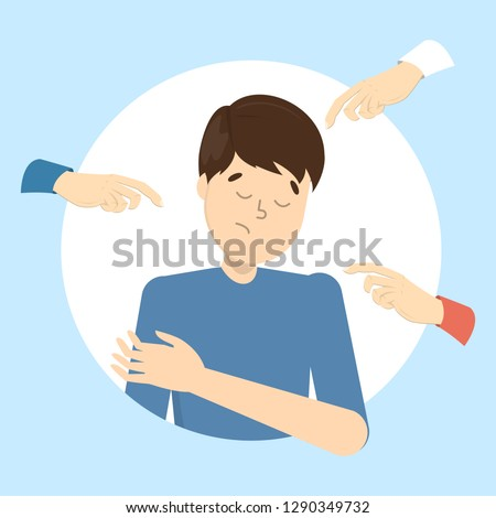 People blame guy. Guilt and shame. Sad male character with hands around pointing at him. Ashamed man. Flat vector illustration