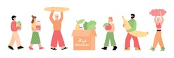 People bringing food in food donation box. Donating food charity activity and sustainable consumption trends, flat cartoon vector illustration isolated white background