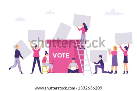 people brought the vote results in the general election to election box, public bring their decision to voting box, vote concept flat vector illustration
