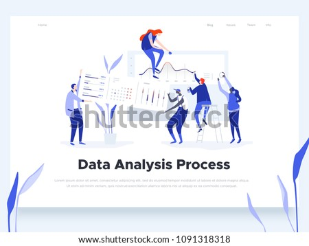 People build a dashboard and interact with graphs. Data analysis, and office situations. Landing page template. Vector illustration - Shutterstock ID 1091318318