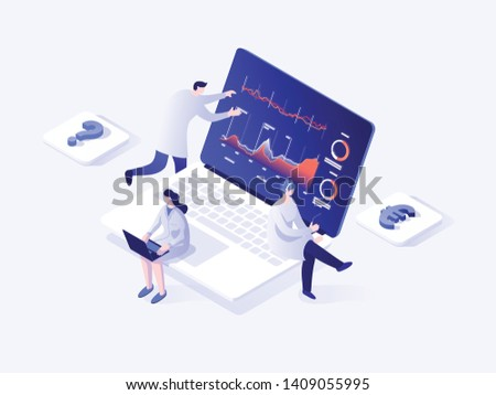 People build a dashboard and interact with graphs. Data analysis, and office situations. Landing page template. Isometric vector illustration