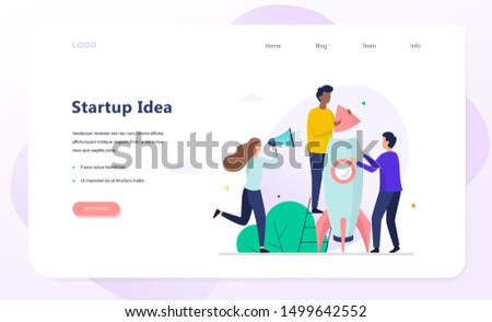 People build rocket. Business character start the project, work in the company. Vector illustration in flat style