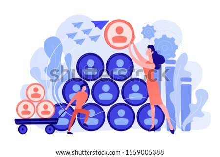 People building career pyramid with chief executive officer CEO on the top. Highest ranking manager, managing director in the IT company. IT team management concept. Pinkish coral blue palette. Vector