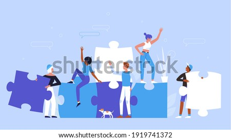 People building creative puzzle concept vector illustration. Cartoon man woman group of characters wearing casual clothes, holding puzzle jigsaw pieces to create success idea startup background