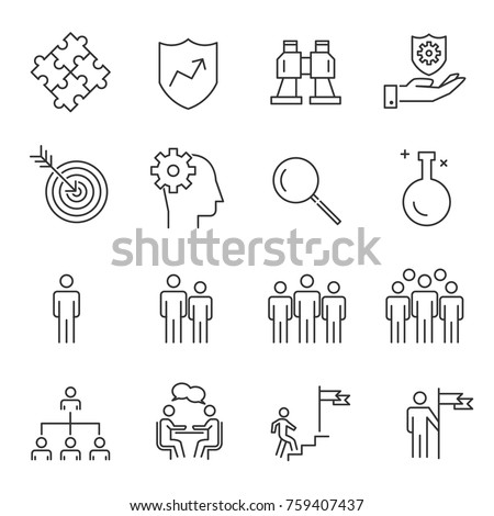 People Business Vector Line Icons ,Work Group Team , Business Meeting Communication.