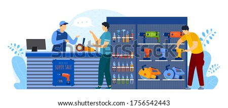 People buy in tool store vector illustration. Cartoon flat man buyer client characters buying equipment for toolbox of house repair, consulting salesman at counter. Hardware shop isolated on white Foto stock ©