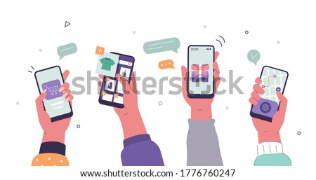 People Buying Online on Smartphones. Boys and Girls Choosing, Making Orders, Purchasing and Tracking Delivery. Female and Male Characters Shopping in Mobile App. Flat Cartoon Vector Illustration.