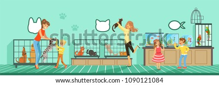 People buying pets from pet store Illustration in flat style