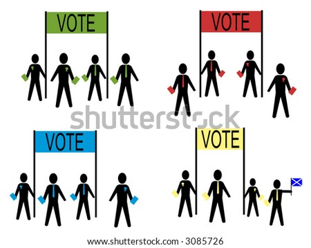people campaigning for British political parties illustration