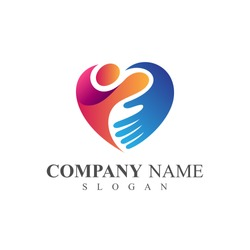 People Care Logo, People With Hand In Heart Shape, Logo Template