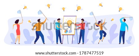 People catch business idea vector illustration. Cartoon flat businessman team characters with butterfly nets catching fast flying winged light bulbs, teamwork in starting new project isolated on white Сток-фото ©
