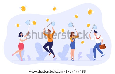 People catch money vector illustration. Cartoon flat employee group characters holding nets, businessman businesswoman jumping, catching flying money coins, success business concept isolated on white Сток-фото ©