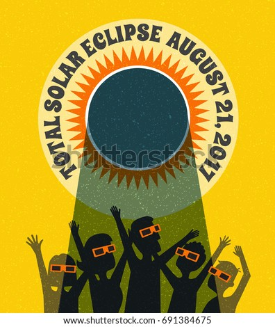 People celebrate watching the solar eclipse with protective glasses. vector banner, card or poster illustration.