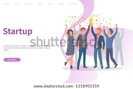 People celebrating success of company vector, achievement of results. Confetti and prize, triumph of team, teamwork in achieving perfection. Website or webpage template, landing page flat style