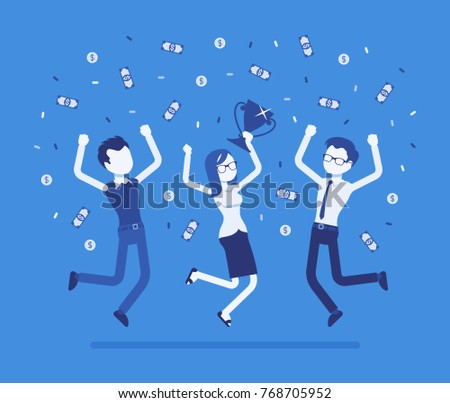 People celebrating victory. Young team of winners under confetti shower, proud of their work, awarded big prize after office competition. Vector business concept illustration with faceless characters