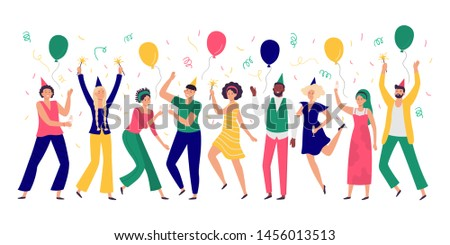 People celebrating. Young men and women dance at celebration party, joyful balloons and confetti. Happiness adults business coworkers achievement victory celebration vector illustration