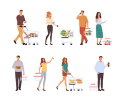 People character buying food in supermarket isolated set. Vector graphic design concept